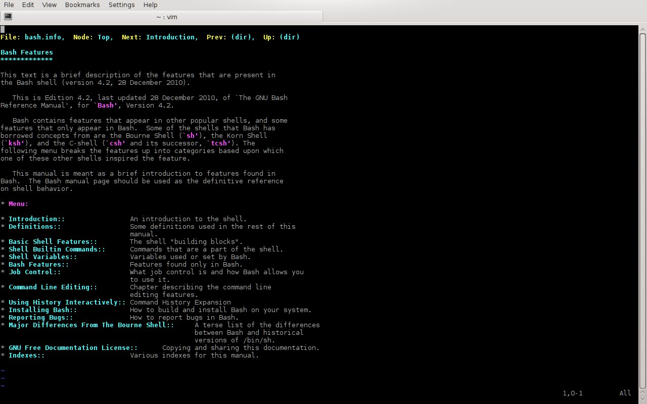 Linux Deepin 使用 Vi 键绑定习惯查看 info 文档