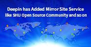"Deepin adicionou o serviço de site ""Mirror"", tal como SHU Open Source Community, etc."